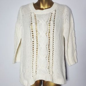 Old Navy cream cable knit sweater size medium
